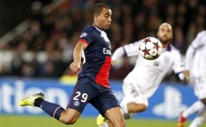 Der Saint Germain Spieler Lucas während einem Champions-League-Spiel in Paris, 5. November 2013. (Bild: Keystone/ Yoan Valat)