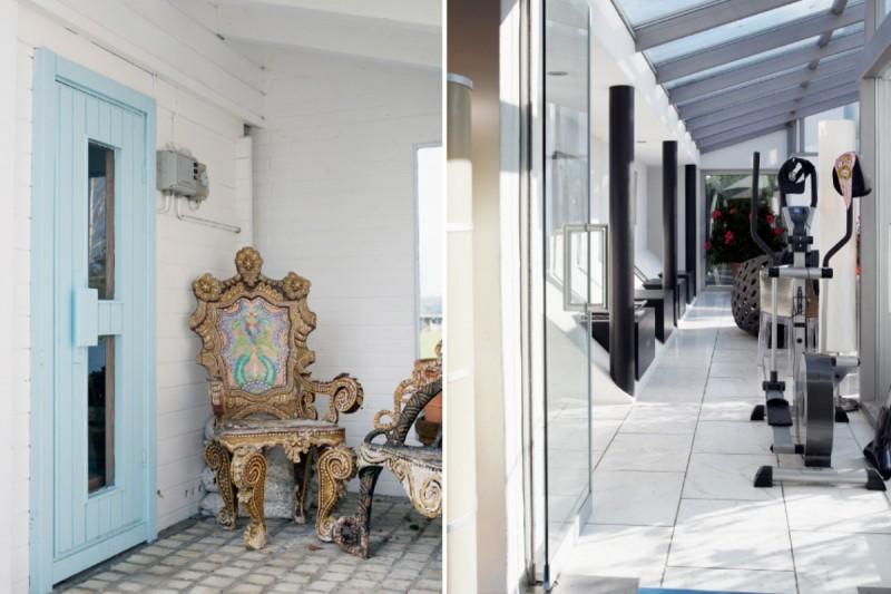 Die Galerie wird aber auch für Fitness benützt, Bild rechts. Auf dem linken Bild ein Stuhl erkennbar der aussieht wie wenn er von den Memphis-Desigern kreiert wurde. Er ist aber ein Fundstück ......