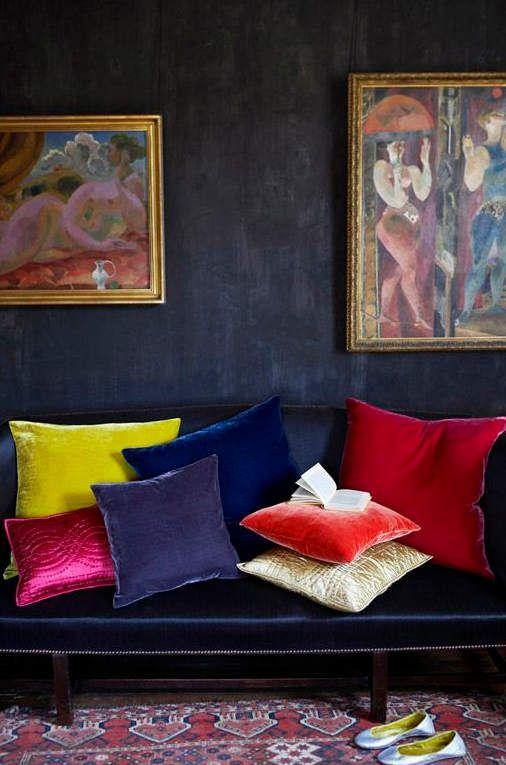 Alte Franz?sische Tapeten : Jewel Tone Velvet Pillows