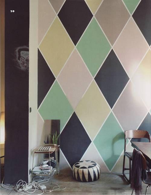 Harlequin Diamond Painted Walls