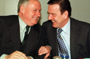 LOWER SAXONY PREMIER SCHROEDER AND SPD PARTY LEADER LAFONTAINE