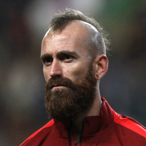 Portugal's Raul Meireles stands at attention during the national anthem in Leiria