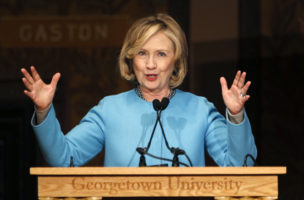"Hillary Clinton speaks on ""Smart Power: Security Through Inclusive Leadership""  at Georgetown University in Washington"