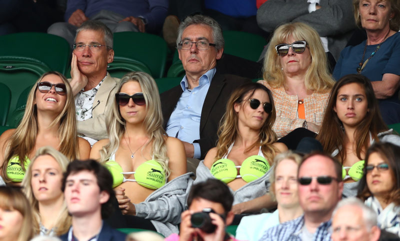 LONDON, ENGLAND - JULY 02: Spectators look on in centre court on day six of the Wimbledon Lawn Tennis Championships at the All England Lawn Tennis and Croquet Club on July 2, 2016 in London, England. (Photo by Julian Finney/Getty Images)