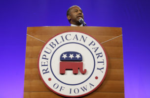 Republican presidential hopeful Dr. Ben Carson speaks during the Iowa Republican Party's Lincoln Dinner, Saturday, May 16, 2015, in Des Moines, Iowa. (AP Photo/Charlie Neibergall)
