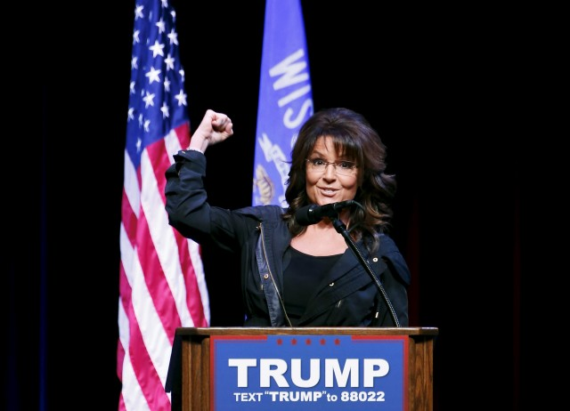 Former Alaska Governor Sarah Palin speaks during a Town Hall at the Racine Civic Centre Memorial Hall April 2, 2016. REUTERS/Kamil Krzaczynski - RTSDAQT