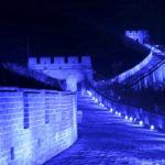 Zum 70. UNO-Jubiläum wurde die Chinesiche Mauer im Oktober 2015 blau beleuchtet. (Reuters)( Li Sanxian)