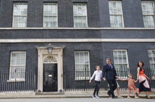 Britain's Prime Minister David Cameron, his wife Samantha and their children Nancy, centre, Florence and Elwen, left, leave 10 Downing Street, in London, Wednesday, July 13, 2016. Cameron will formally resign during a meeting with Queen Elizabeth II at Buckingham Palace, then Theresa May, the Home Secretary, will take over. (AP Photo/Frank Augstein)