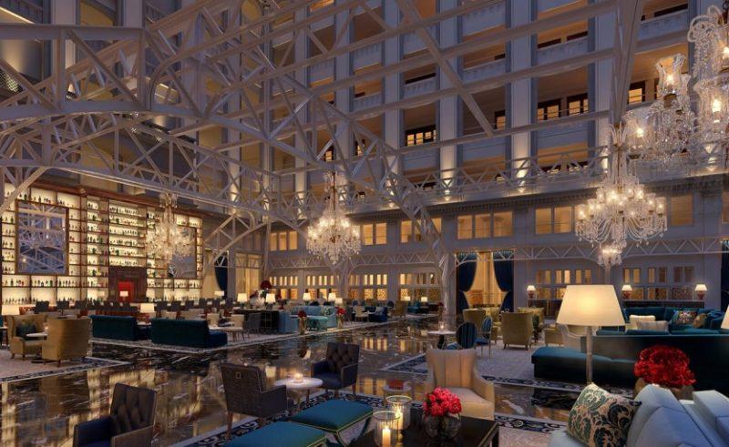 Die Cortile Bar (links) überstrahlt die Grand Lobby.