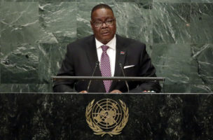 Malawi's President Arthur Peter Mutharika addresses the 71st session of the United Nations General Assembly, at U.N. headquarters, Tuesday, Sept. 20, 2016. (AP Photo/Richard Drew)
