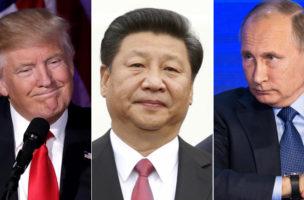 Sie reagieren die Welt: Donald Trump, Xi Jinping und Wladimir Putin. (Bilder: Reuters)