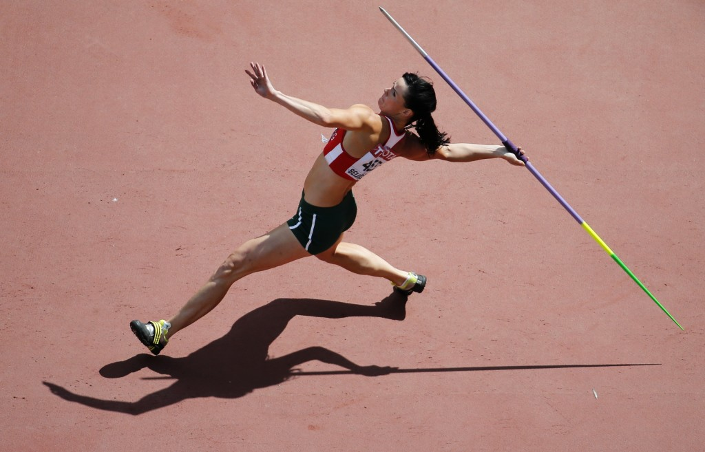 Gyorgyi Zsivoczky-Farkas competes in the javelin throw event of the women's heptathlon during the 15th IAAF World Championships at the National Stadium in Beijing, China, August 23, 2015. REUTERS/Fabrizio Bensch  - RTX1P96J