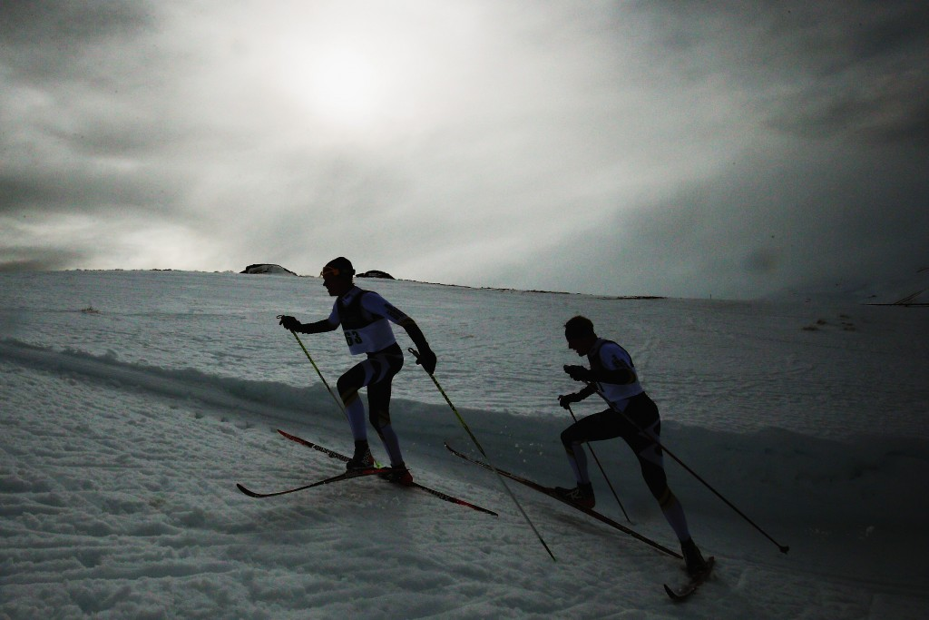 WANAKA, NEW ZEALAND - AUGUST 29: Donny Boake of Canada and William Poffenroth of Canada compete in the FIS Cross-Country Skiing ANC Mass Start Classic Mens race during the Winter Games NZ at Snow Farm on August 29, 2015 in Wanaka, New Zealand.  (Photo by Hannah Peters/Getty Images) *** BESTPIX ***