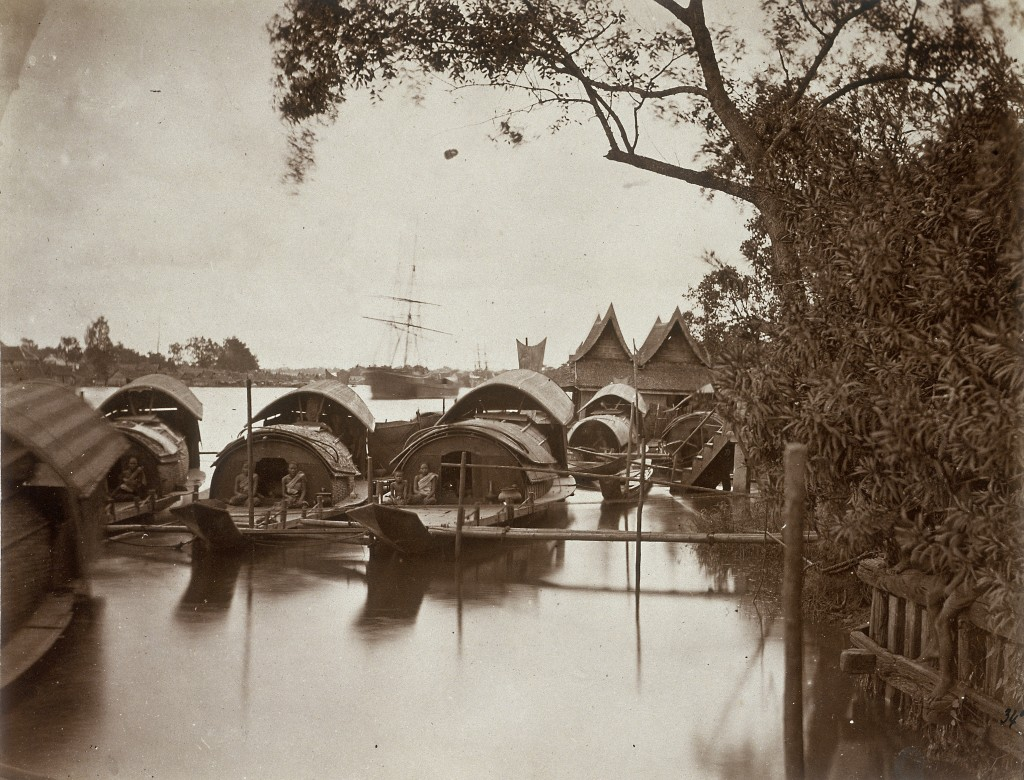 A souvenir of Odoardo Beccari's journeys: boats on Bangkok's canals (Photo by Alinari via Getty Images)