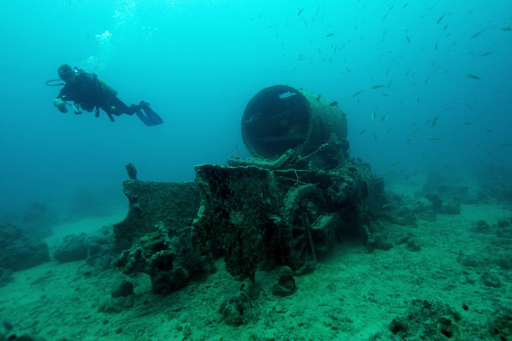 SHARM ASH SHAYKH, EGYPT - JULY 10: Two LMS Stainer 8F steam locomotives sit on the bottom of the Red Sea. The locomotives were aboard the SS Thistlegorm when it was sunk by German bombers during World War II. A scuba expedition visits the site on July 10, 2015 in Sharm ash Shaykh, Egypt. (Photo by Dave J Hogan/Getty Images)