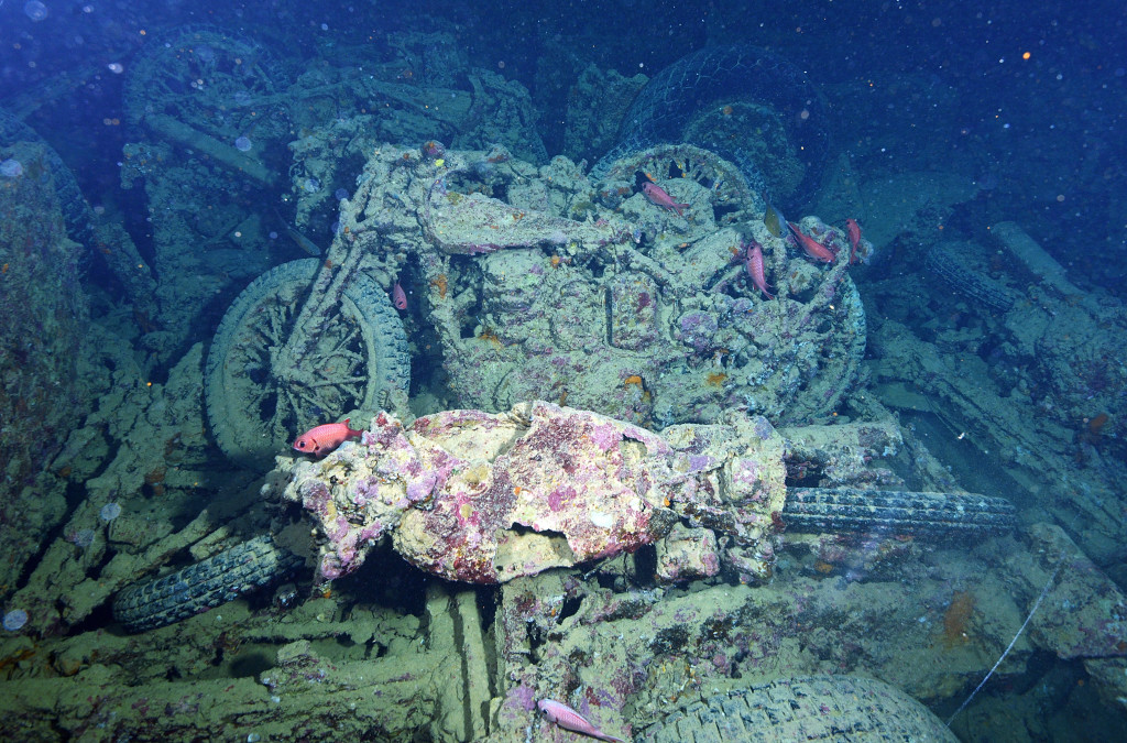 SHARM ASH SHAYKH, EGYPT - JULY 10: A supply of BSA and Norton 16H motorcycles sit forever aboard the SS Thistlegorm at the bottom of the Red Sea. The ship, part of the British Merchant Navy, was sunk by German bombers during World War II. A diving exhibition visits the site on July 10, 2015 in Sharm ash Shaykh, Egypt. (Photo by Dave J Hogan/Getty Images)