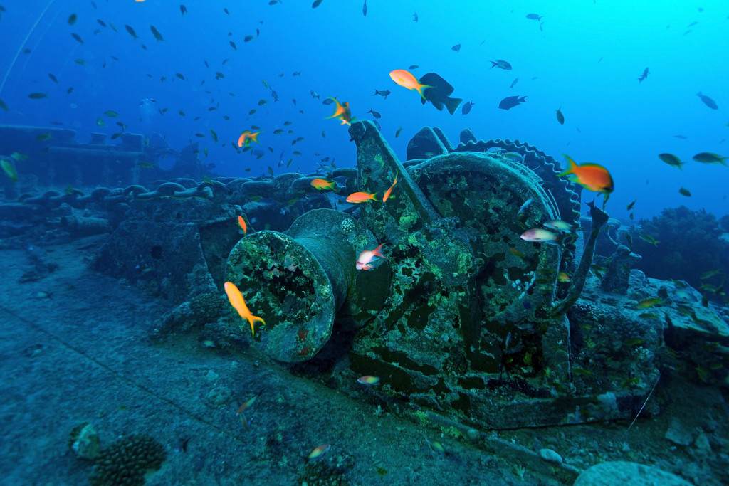 SHARM ASH SHAYKH, EGYPT - JULY 10: A general view of the wreckage of the SS Thistlegorm, a Merchant Navy ship that was sunk by German bombers during World War II. A scuba diving expedition visits the site on July 10, 2015 in Sharm ash Shaykh, Egypt. (Photo by Dave J Hogan/Getty Images)