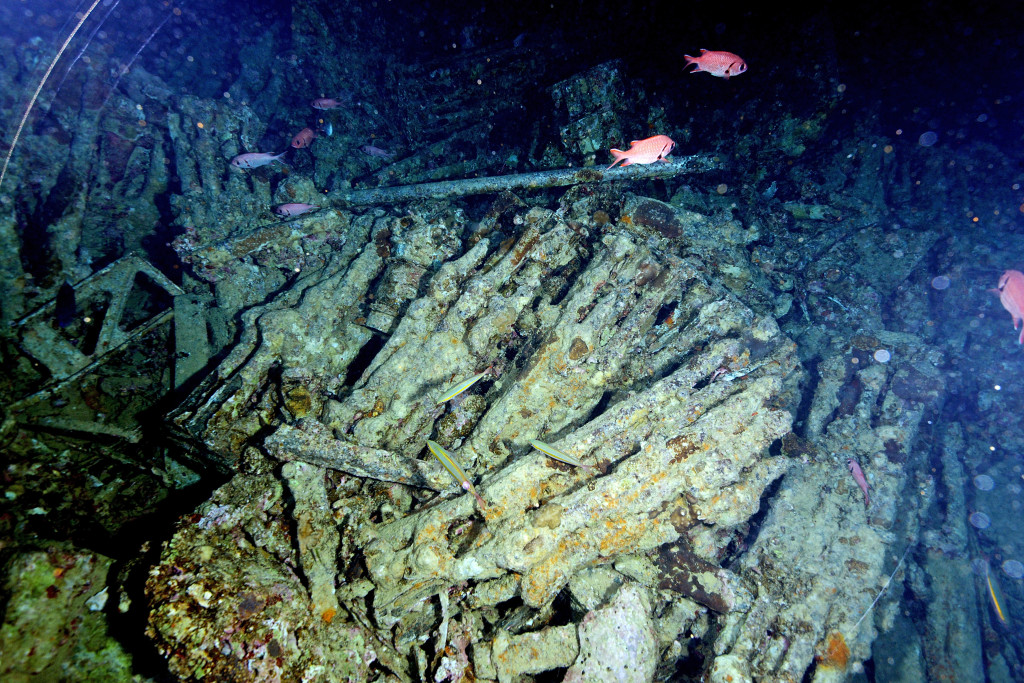 SHARM ASH SHAYKH, EGYPT - JULY 10: A World War II British Merchant Navy supply of rifles and ammunition sit at the bottom of the Red Sea aboard the SS Thistlegorm. The Thistlegorm was sunk by German bombers enroute to Egypt. A diving exhibition visits the site on July 10, 2015 in Sharm ash Shaykh, Egypt. (Photo by Dave J Hogan/Getty Images)
