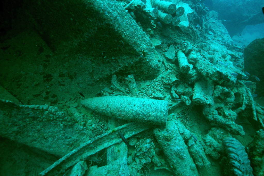 SHARM ASH SHAYKH, EGYPT - JULY 10: A piece of ammunition aboard the SS Thistlegorm, a British Merchant Navy ship sunk during World War II by German bombers, sits near the wreckage in the Red Sea. A scuba expedition visits the site on July 10, 2015 in Sharm ash Shaykh, Egypt. (Photo by Dave J Hogan/Getty Images)