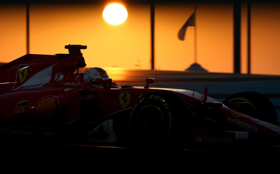 ABU DHABI, UNITED ARAB EMIRATES - NOVEMBER 29: Sebastian Vettel of Germany and Ferrari drives during the Abu Dhabi Formula One Grand Prix at Yas Marina Circuit on November 29, 2015 in Abu Dhabi, United Arab Emirates. (Photo by Paul Gilham/Getty Images) *** BESTPIX ***