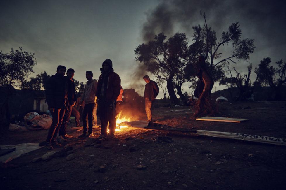 Camp-Moria in der Nähe von Mitilini auf Lesbos. Wegen Platzmagels müssen viele die Nacht im freien verbringen.