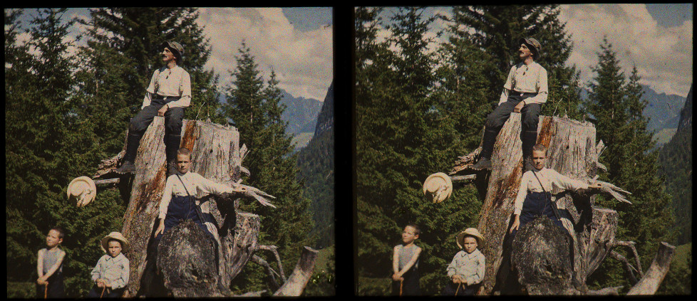 SIMON GLASSON, Édouard Glasson et ses enfants, 19 juillet 1914, vue stéréoscopique (3D) Collection : Musée gruérien, Bulle, MG-23805
