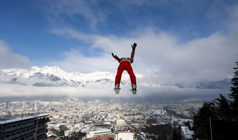 Anders Fannemel from Norway soars through the air during the training for the third jumping of the 63rd four-hills Ski jumping tournament in Innsbruck, January 3, 2015. The prestigious four-hills tournament will end in Bischofshofen on January 6. REUTERS/Dominic Ebenbichler (AUSTRIA - Tags: SPORT SKIING TPX IMAGES OF THE DAY) - RTR4JYEZ