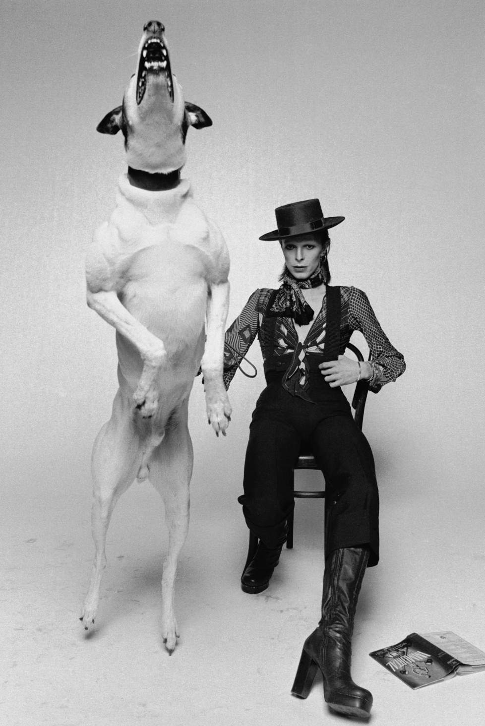 Singer David Bowie posing with a large barking dog while working on the artwork for his 1974 album 'Diamond Dogs' in London. (Photo by Terry O'Neill/Getty Images)