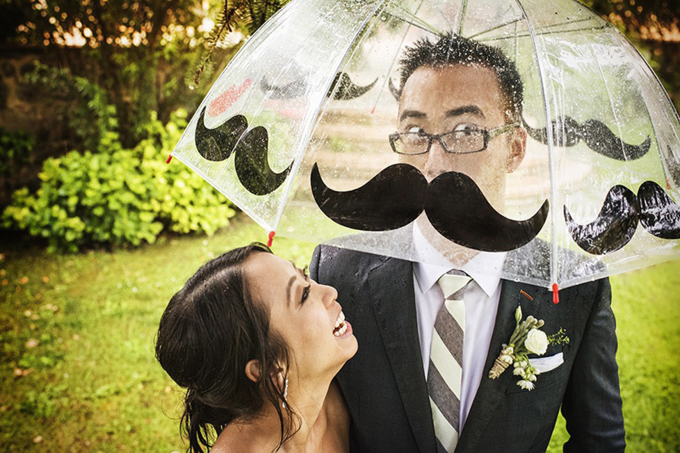 **MANDATORY PICTURE CREDIT** PIC BY: FABIO MIRULLA / ISPWP / CATERS NEWS (Pictured: Moustache illusion) - These hilarious photos will leave people WEDDING themselves with laughter. The images - which include photobombs, wardrobe malfunctions and unexpected animal behaviour - have been released by the International Society of Professional Wedding Photographs (ISPWP). Each year the society holds quarterly competitions, celebrating a variety of the best image from couples special days. Other categories in the ISPWPs completions include the likes Getting Ready, First Dance, Family Love, and a selection of portrait possibilities. - SEE CATERS COPY  (FOTO: DUKAS/CATERSNEWS) *** Local Caption *** Funniest Wedding Photos of 2015