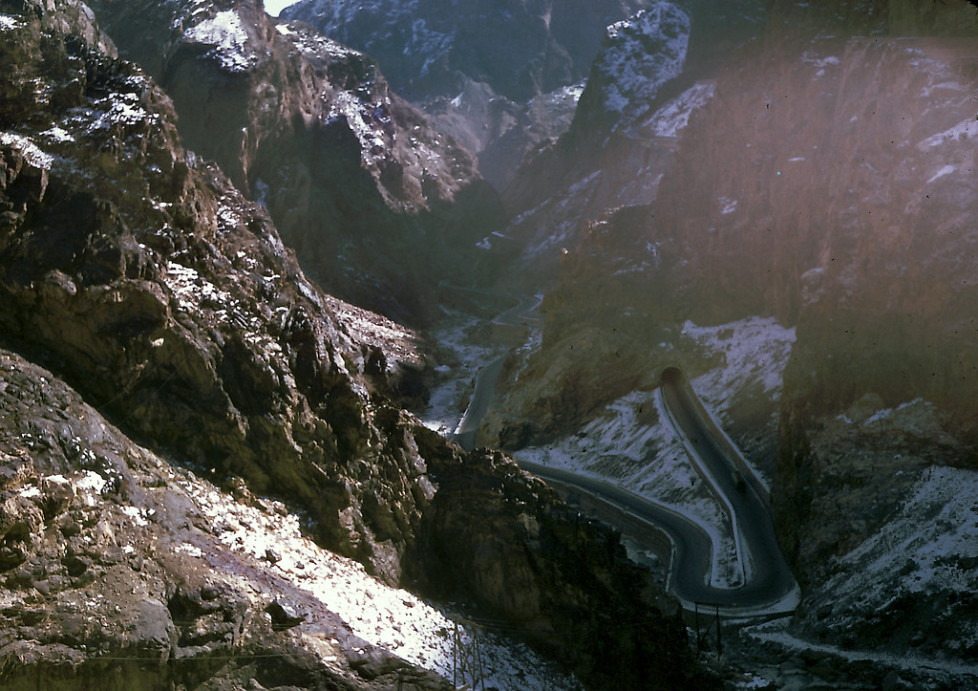 """""""Kabul Gorge or locally known as Tang-i-Gharoo which led to the Darae Maiee-Par (Flying Fish Valley). This is the highway which connects Kabul with the province city of Jalalabad. """""""