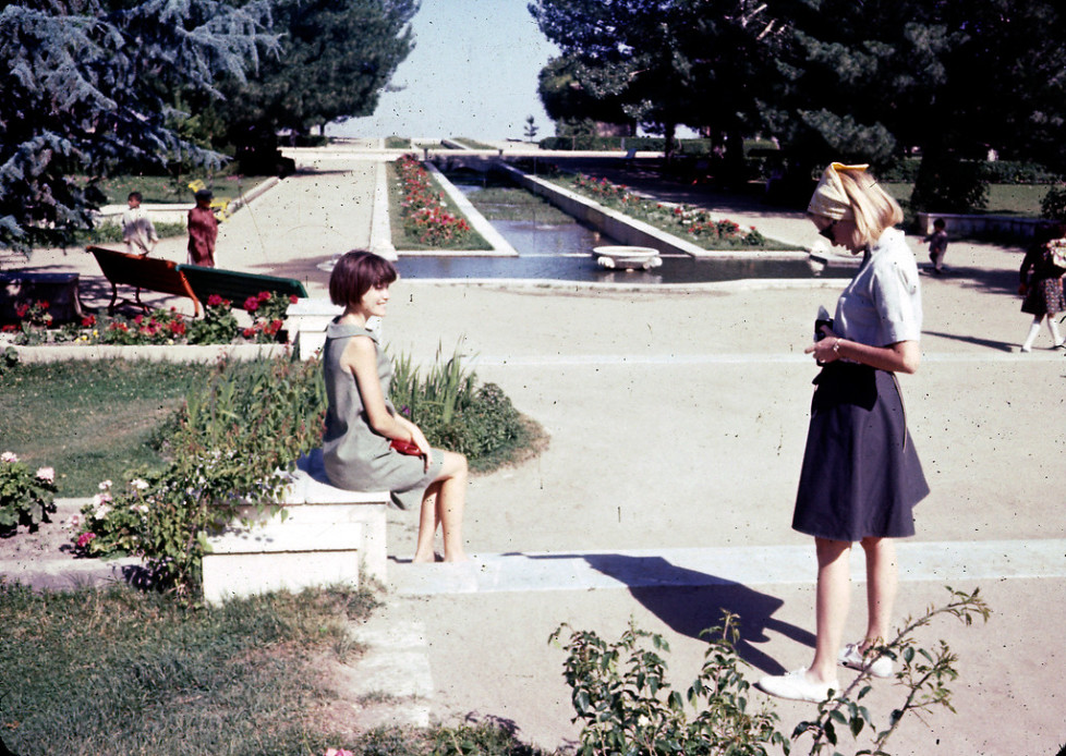 """""""(L-R) Jan and Peg Podlich at Paghman Gardens, which was destroyed during the years of war before the 2001 U.S. invasion of Afghanistan."""""""