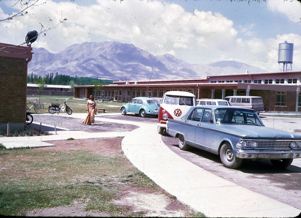 """""""Parking lot of the American International School of Kabul. The school no longer exists, although alumni stay in touch through Facebook and hold reunions every few years at different cities around the U.S. The next reunion will be held in Boston in 2013. """"AISK's last year was 1979, so the school had a 20 year history. AISK was located on the same campus that currently houses the American University of Afghanistan (on Darul-aman Rd in west Kabul). In 1967-68, there were about 250 students attending AISK and 18 graduating seniors."""" - Peg Podlich"""""""
