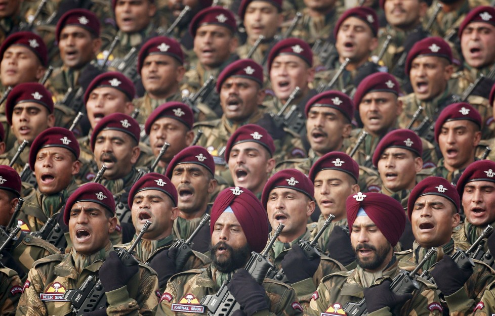 Indian soldiers march during the Republic Day parade in New Delhi, India, January 26, 2016. REUTERS/Adnan Abidi