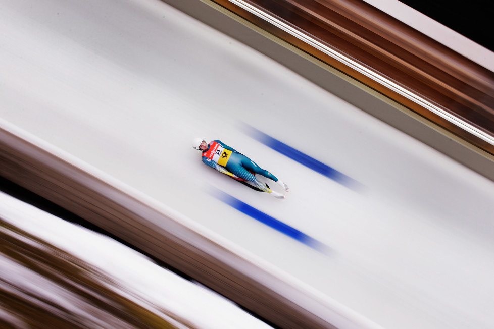 KOENIGSSEE, GERMANY - JANUARY 31: Alexander Ferlazzo of Australia completes his first run in the Men's Luge during Day 2 of the Luge World Championships at Deutsche Post Eisarena Koenigssee on January 31, 2016 in Koenigssee, Germany. (Photo by Adam Pretty/Bongarts/Getty Images)