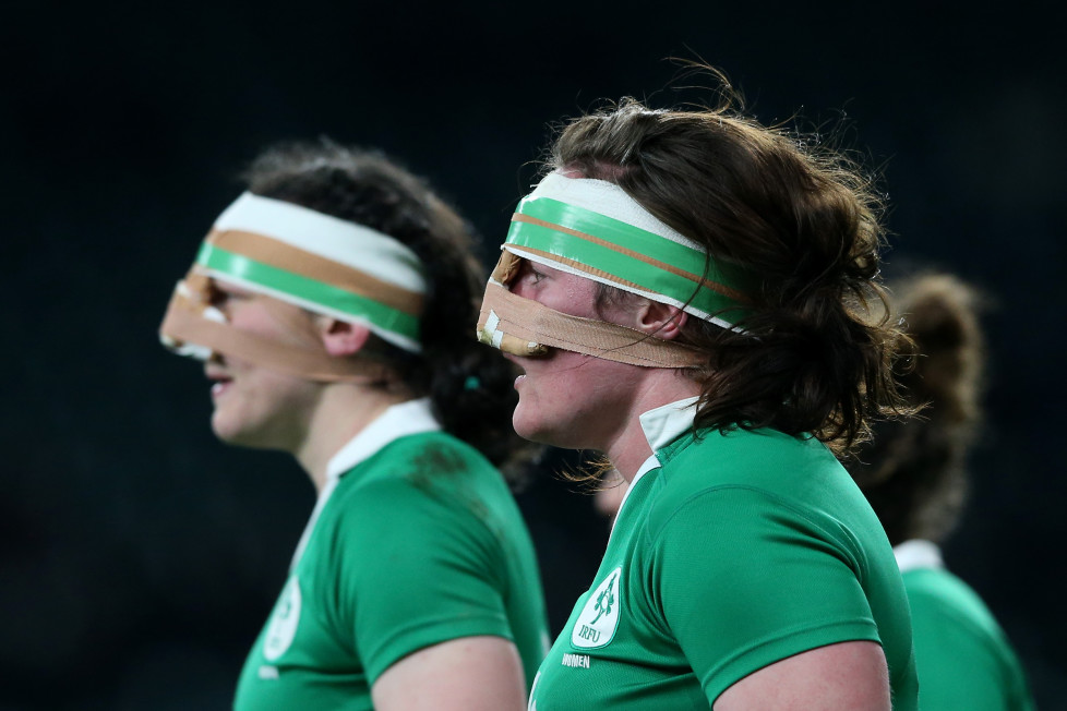 LONDON, ENGLAND - FEBRUARY 27: (L-R) Paula Fitzpatrick of Ireland and Ailis Egan of Ireland look on during the Women's Six Nations match between England and Ireland at Twickenham Stadium on February 27, 2016 in London, England. (Photo by David Rogers - RFU/The RFU Collection via Getty Images)