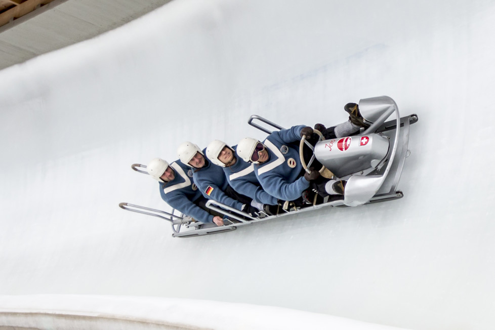KOENIGSSEE, GERMANY - FEBRUARY 28: Pilot Donals Holstein and his pushers Markus Schmid, Silvio Schaufelberger and Heinz Thoma push their historical Bob off the start during the first run of the Race of Champions at the IBSF Bobsleigh & Skeleton World Cup on February 28, 2016 in Koenigssee, Germany. (Photo by Jan Hetfleisch/Bongarts/Getty Images)