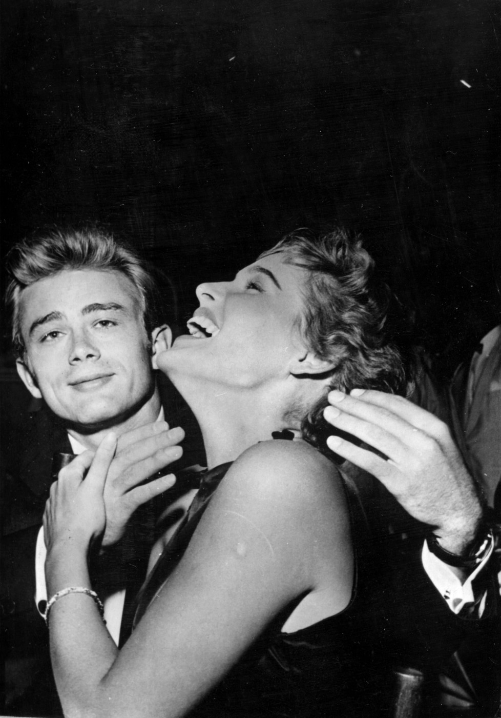 circa 1954: American actor James Dean (1931 - 1955) with Swiss actress Ursula Andress. (Photo by Keystone/Getty Images)