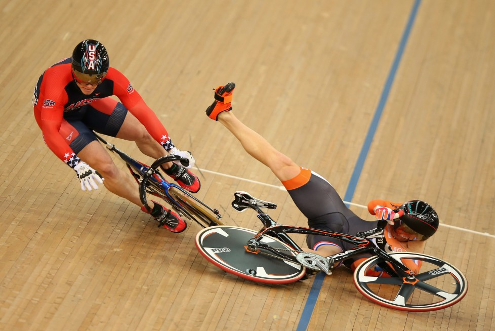 LONDON, ENGLAND - MARCH 06: Matthijs Buchli of Holland (R) crashes and takes out USA's Matthew Baranoski in heat three of the Men's Keirin during Day Five of the UCI Track Cycling World Championships at Lee Valley Velopark Velodrome on March 6, 2016 in London, England. (Photo by Bryn Lennon/Getty Images) *** BESTPIX ***