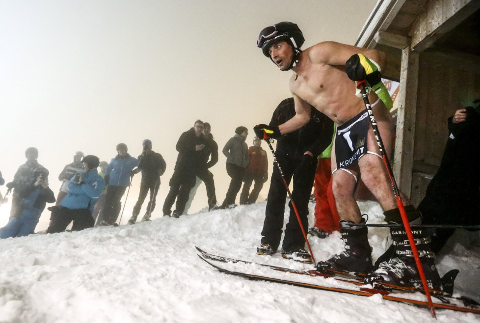 "A competitor starts during a fun ""Naked Slalom Skirace"" in the western Austrian ski resort of Steinach am Brenner, March 12, 2016. REUTERS/Dominic Ebenbichler TPX IMAGES OF THE DAY"