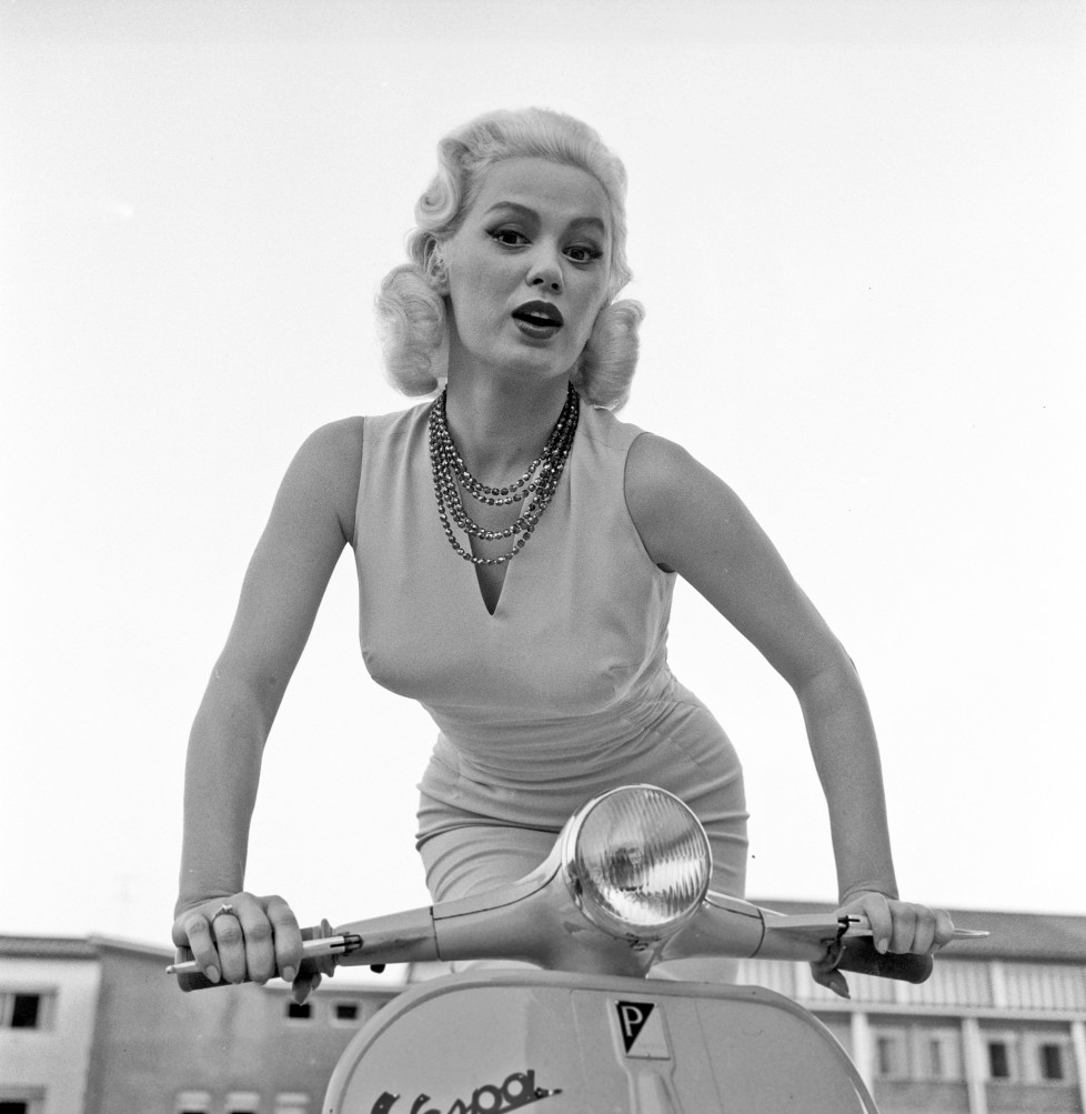 American actress Mamie Van Doren (Joan Lucille Olander), posing on a Vespa in a provocative way. Rome, 01/08/1958 (Photo by Pierluigi PraturlonReporters Associati & ArchiviMondadori Portfolio via Getty Images)