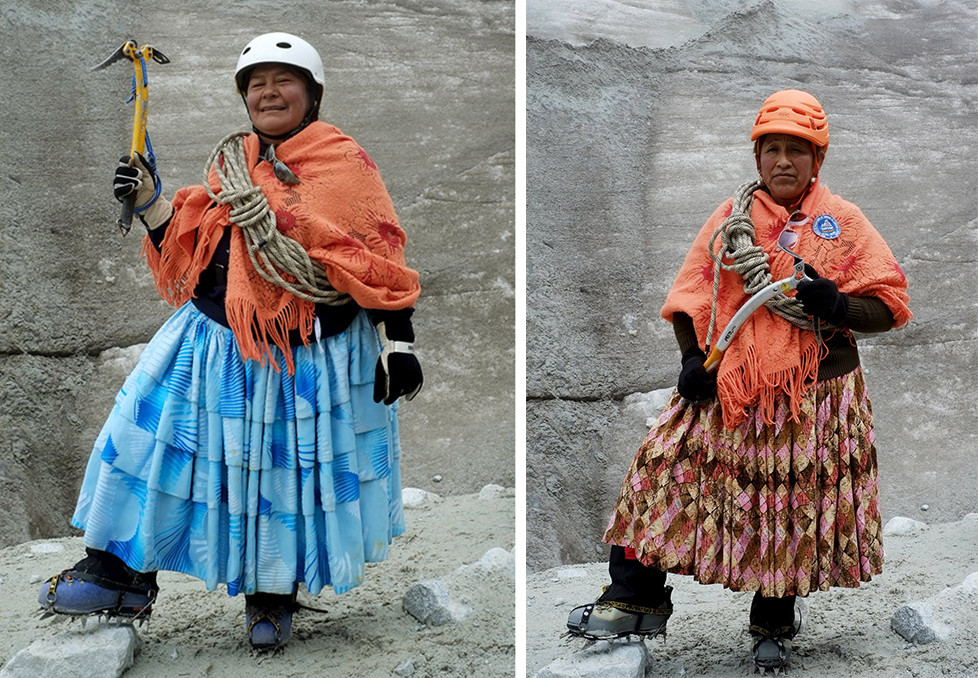 """Aymara indigenous woman Lidia Huayllas, 48, poses for a photograph at the Huayna Potosi mountain, Bolivia April 6, 2016. Two years ago, about a dozen Aymara indigenous women, aged 42 to 50, who worked as porters and cooks for mountaineers at base camps and mountain climbing refuges on the steep, glacial slopes of Huayna Potosi, an Andean peak outside La Paz, Bolivia, put on crampons under their wide traditional skirts and started to dotheir own climbing. REUTERS/David Mercado SEARCH """"CHOLITA CLIMBERS"""" FOR THIS STORY. SEARCH """"THE WIDER IMAGE"""" FOR ALL STORIES"""