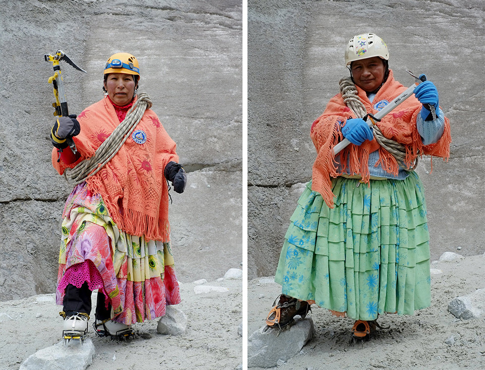"""Aymara indigenous woman Bertha Vedia, 48, poses for a photograph at the Huayna Potosi mountain, Bolivia April 6, 2016. Two years ago, about a dozen Aymara indigenous women, aged 42 to 50, who worked as porters and cooks for mountaineers at base camps and mountain climbing refuges on the steep, glacial slopes of Huayna Potosi, an Andean peak outside La Paz, Bolivia, put on crampons under their wide traditional skirts and started to dotheir own climbing. REUTERS/David Mercado SEARCH """"CHOLITA CLIMBERS"""" FOR THIS STORY. SEARCH """"THE WIDER IMAGE"""" FOR ALL STORIES"""