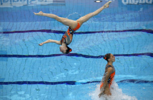 Greece compete in the Synchronised Swimming Team Free Final at the European Aquatics Championships in London on May 13, 2016.  / AFP PHOTO / ADRIAN DENNIS