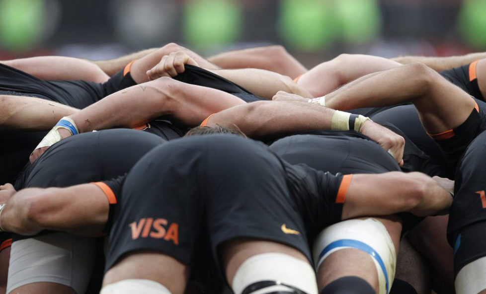 epa05321463 The Jaguares forwards scrum down against Lions during the Super Rugby rugby union match played at Ellis Park, Johannesburg, South Africa, 21 May 2016. EPA/KIM LUDBROOK