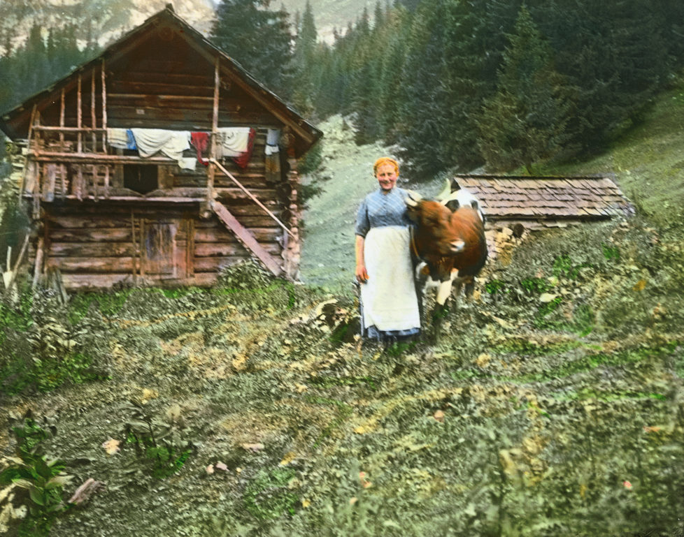 AUSTRIA - CIRCA 1910: Hochalm. Zillertal. Tyrol. Austria. Hand-colored lantern slide around 1910. (Photo by Imagno/Getty Images)