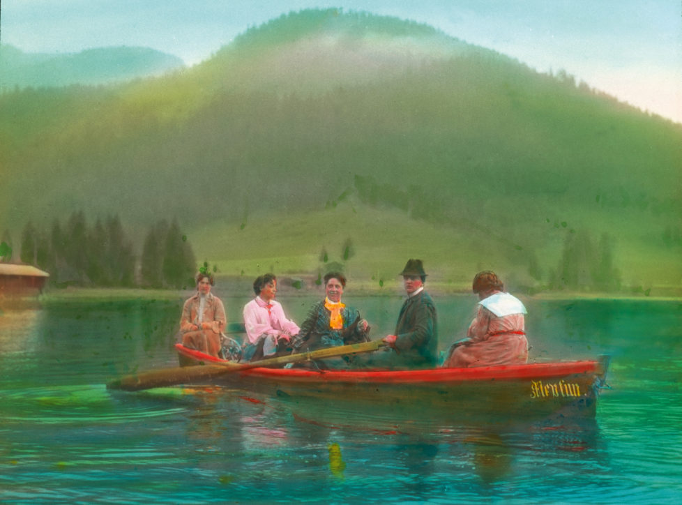 AUSTRIA - CIRCA 1905: Schwarzsee (Lake). Near Kitzbuehel. Tyrol. Austria. Hand-colored lantern slide around 1905. (Photo by Imagno/Getty Images)