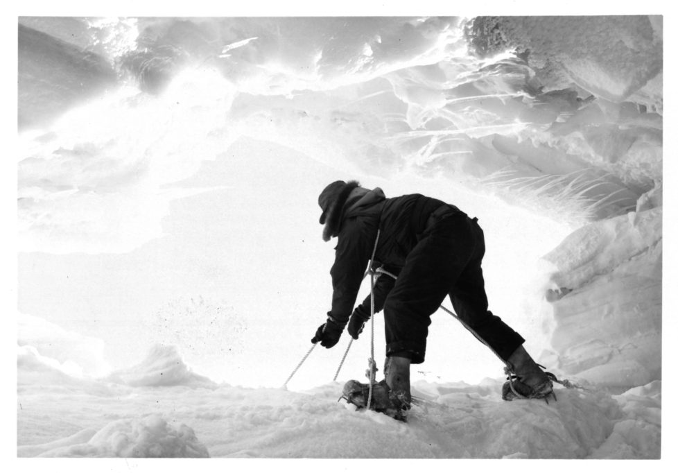Jerry P Jones, PRC, a member of the VX-6 Para Rescue Team, scales the wall of a crevasse at New Zealand's Scott Base, Antarctica, 1961. (Photo by Pictorial Parade/Archive Photos/Getty Images)