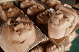 "Masks of U.S. Republican presidential candidate Donald Trump are seen drying on shelves at Jinhua Partytime Latex Art and Crafts Factory in Jinhua, Zhejiang Province, China, May 25, 2016. There's no masking the facts. One Chinese factory is expecting Donald Trump to beat his likely U.S. presidential rival Hilary Clinton in the popularity stakes. At the Jinhua Partytime Latex Art and Crafts Factory, a Halloween and party supply business that produces thousands of rubber and plastic masks of everyone from Osama Bin Laden to Spiderman, masks of Donald Trump and Democratic frontrunner Hillary Clinton faces are being churned out. Sales of the two expected presidential candidates are at about half a million each but the factory management believes  Trump will eventually run out the winner. ""Even though the sales are more or less the same, I think in 2016 this mask will completely sell out,"" said factory manager Jacky Chen, indicating a Trump mask. EUTERS/Aly Song SEARCH ""JINHUA MASK"" FOR THIS STORY. SEARCH ""THE WIDER IMAGE"" FOR ALL STORIES."