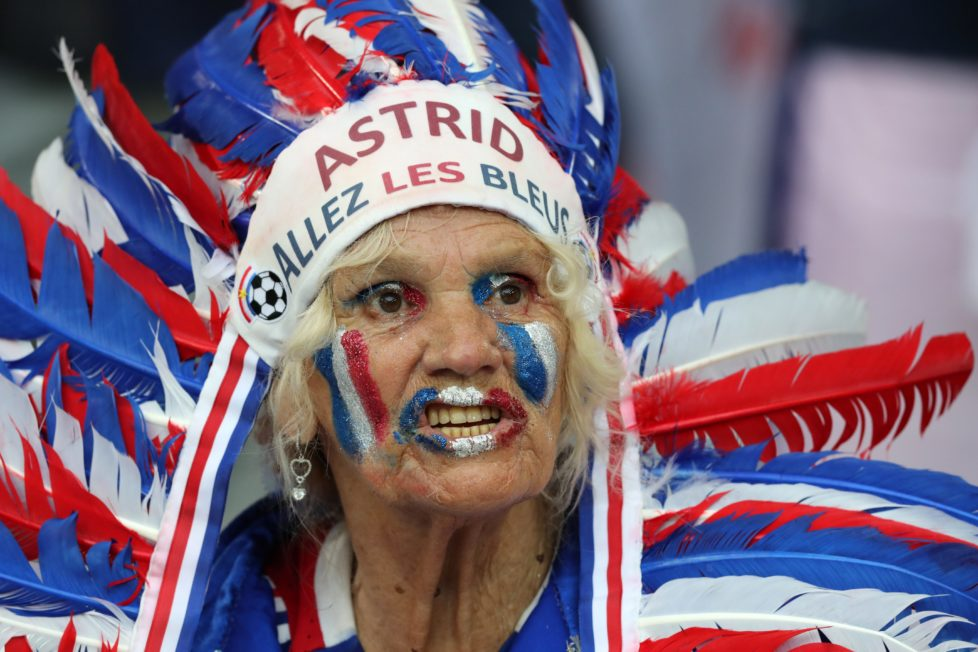 A French fan cheers for his national team prior the Euro 2016 Group A soccer match between France and Albania at the Velodrome stadium in Marseille, France, Wednesday, June 15, 2016. (AP Photo/Thanassis Stavrakis)