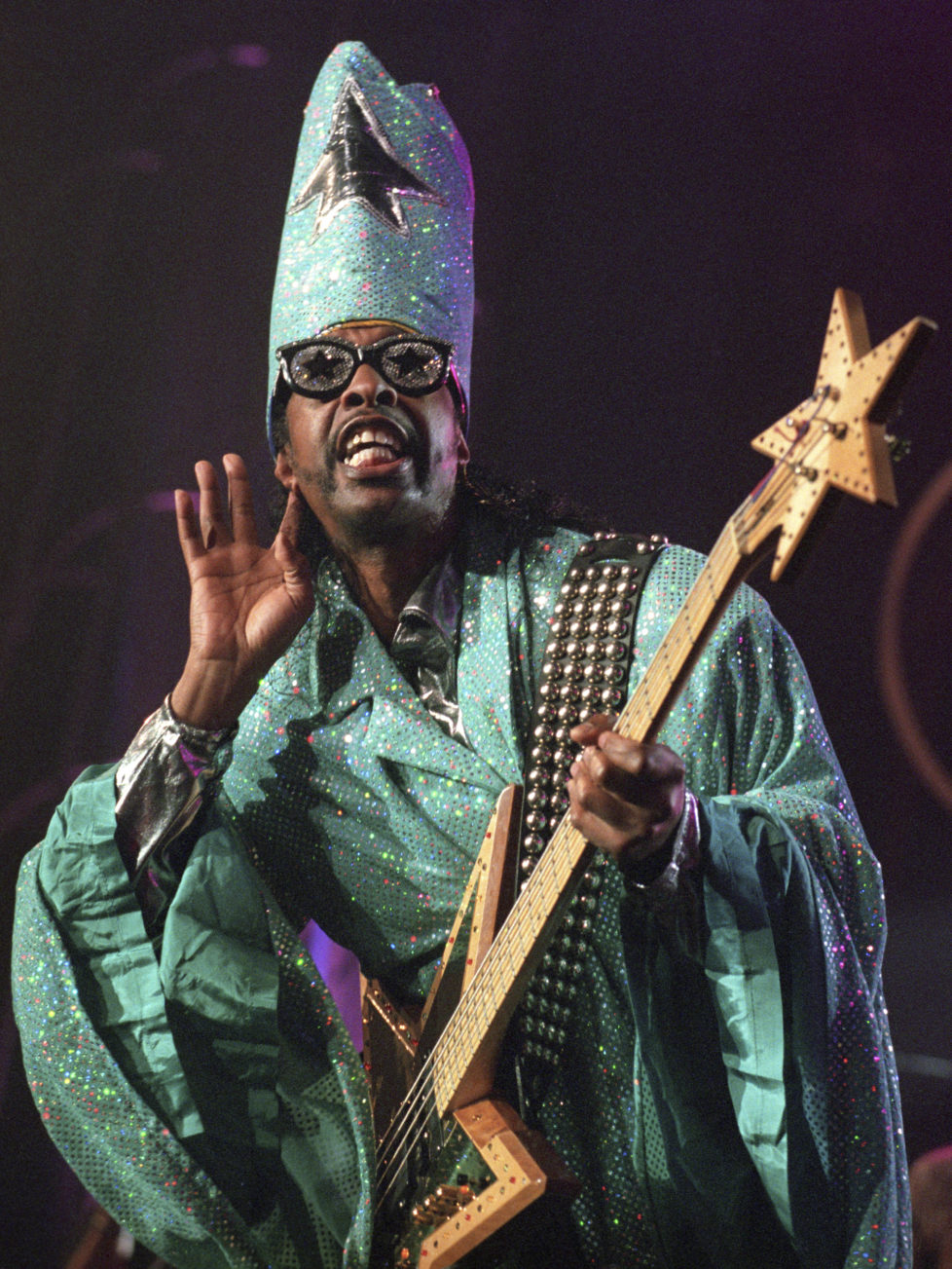 Bass guitar player Bootsy Collins performs with his Band during the Hot & Funky Night at the 32th Montreux Jazz Festival, late Friday, July 17, 1998. (KEYSTONE/Patrick Aviolat)